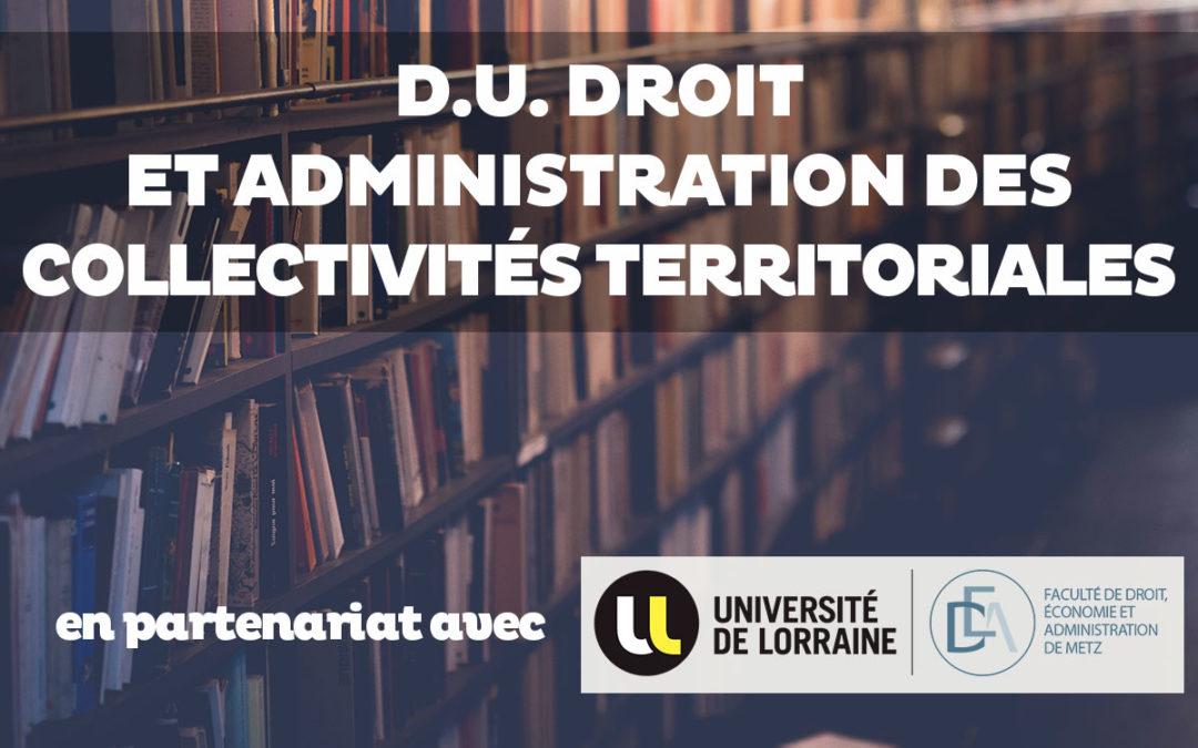 DU Droit et Administration des Collectivités Territoriales